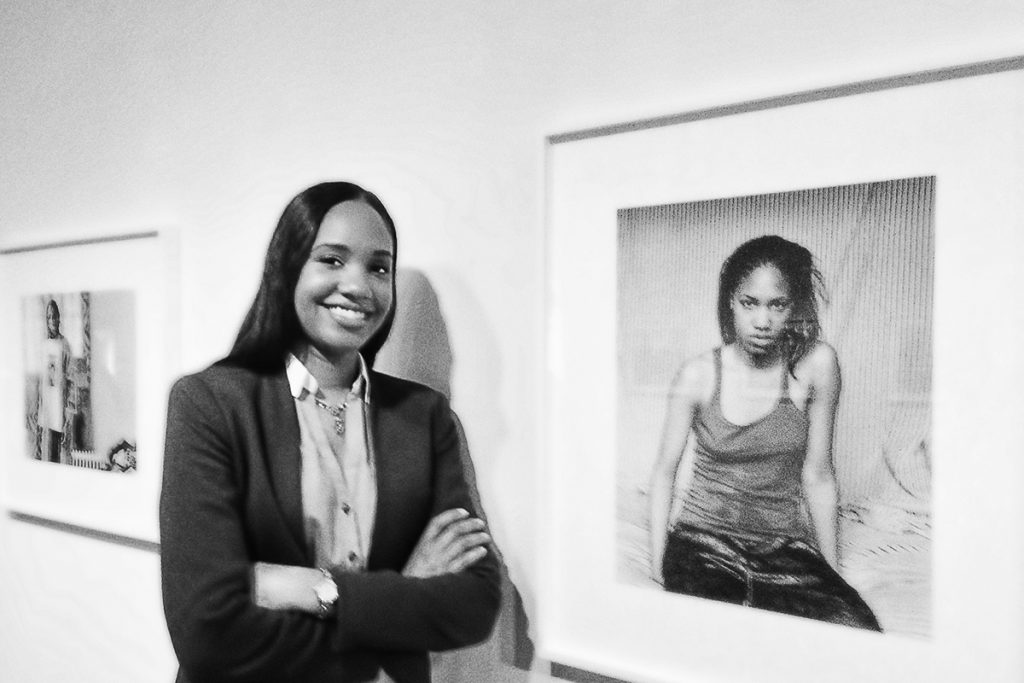 Photo of Latoya Ruby Frazier at her Brooklyn Museum Show
